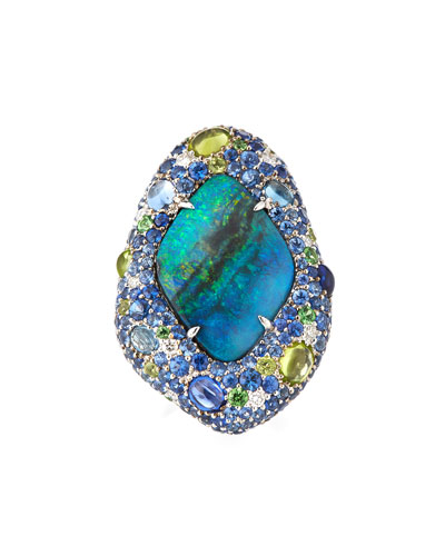 Opal Ring with Diamonds & Sapphires in 18K White Gold