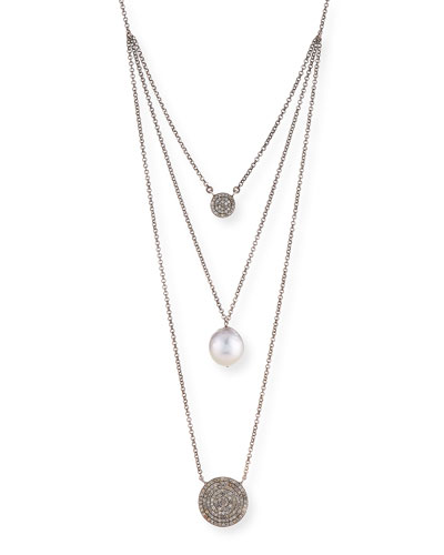Double Diamond & Pearl Pendant Necklace