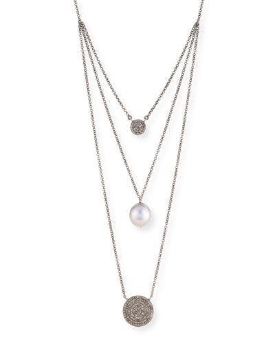 SIENA LASKER DOUBLE DIAMOND & PEARL PENDANT NECKLACE