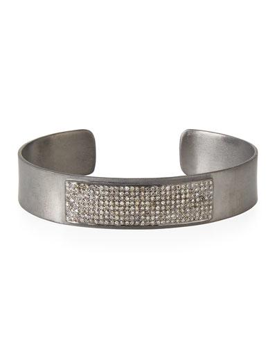 Bar Cuff Bracelet with Pave Diamonds