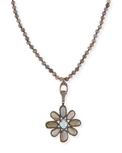 SIENA LASKER LABRADORITE & AQUAMARINE FLOWER NECKLACE WITH DIAMONDS