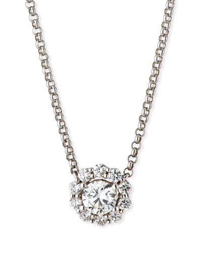 Blossom Diamond Pendant Necklace in 18K White Gold, 0.50tdcw