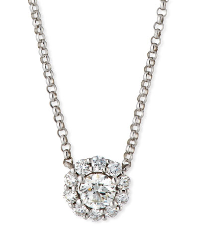 Blossom Diamond Pendant Necklace in 18K White Gold, 0.33tdcw