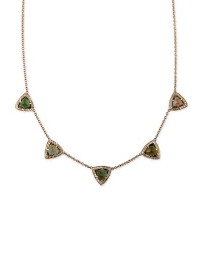 Green Tourmaline & Diamond Pyramid Necklace
