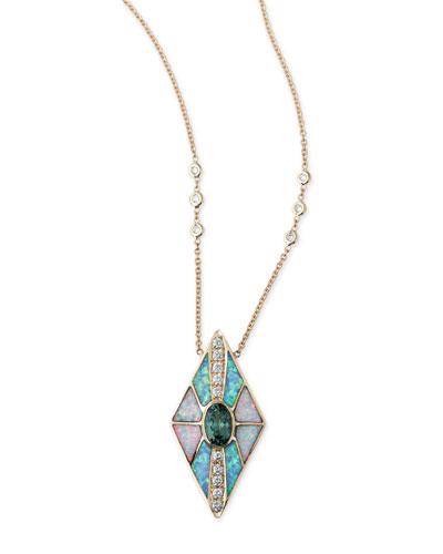 Opal & Tourmaline Kite Necklace with Diamonds