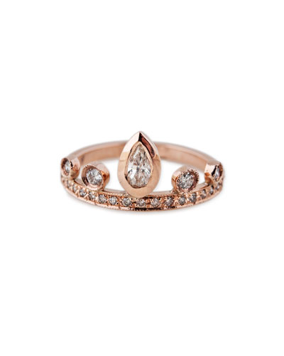 14K Rose Gold & Diamond Teardrop Tiara Ring, Size 7