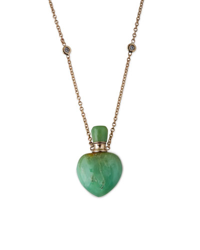 Chrysoprase Heart Potion Bottle Necklace with Diamonds