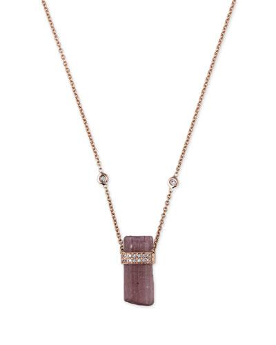 Pink Tourmaline & Diamond Pendant Necklace