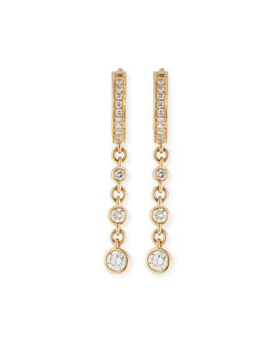 Mini Single Diamond Triple-Drop Hoop Earring in 14K Gold