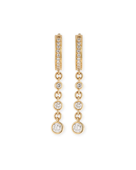 Jacquie Aiche Mini Single Diamond Triple-Drop Hoop Earring in 14K Gold