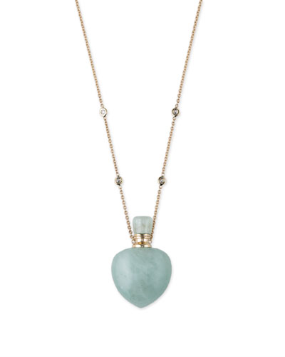 Aquamarine Heart Potion Bottle Necklace with Diamonds