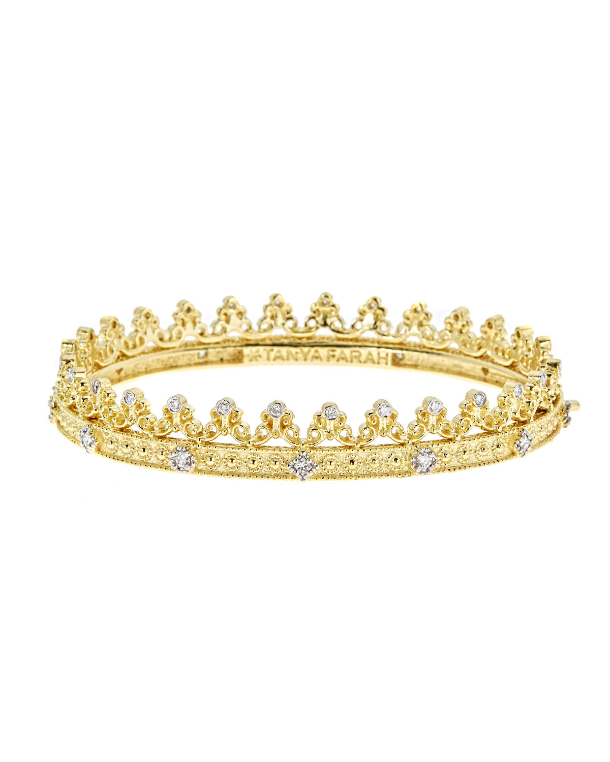 TANYA FARAH Royal Couture 18K Gold Scroll Crown Bangle With Diamonds, 0.75Tdcw