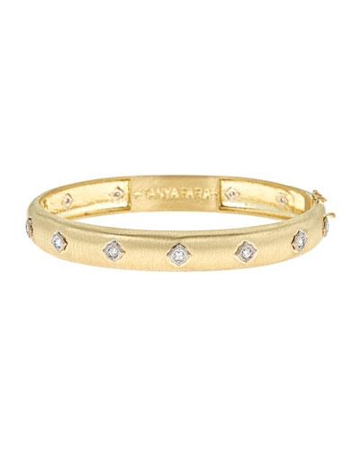 TANYA FARAH WIDE MODERN ETRUSCAN DIAMOND BEZEL BANGLE BRACELET