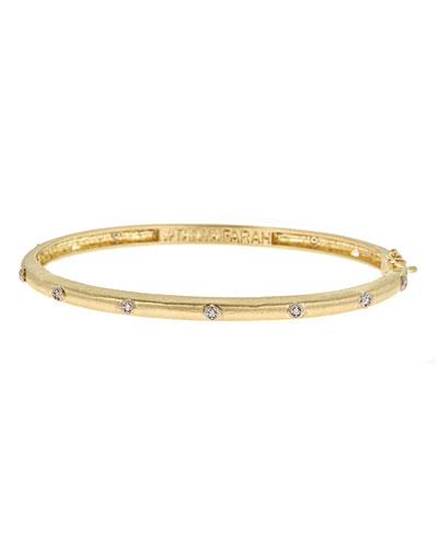Modern Etruscan 18K Gold Bracelet with Diamonds