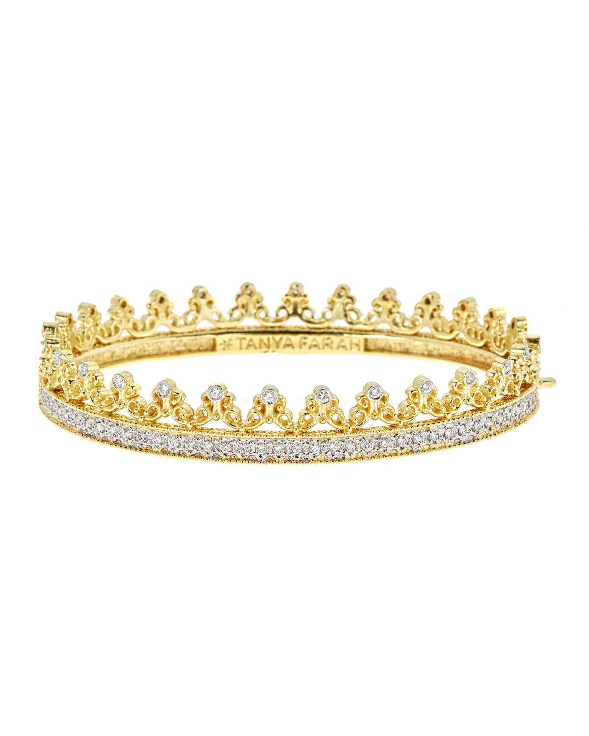 TANYA FARAH Royal Couture 18K Gold Scroll Crown Bangle With Diamonds, 2.7Tdcw