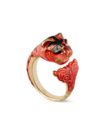 Feline Head Ring with Red Enamel & Diamonds, Size 6.75