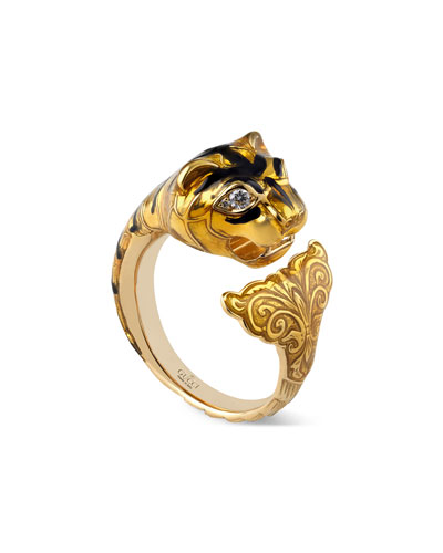 Feline Head Ring with Yellow Enamel & Diamonds, Size 6.75