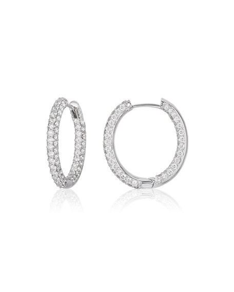 NM Diamond Collection Medium Pave Diamond Hoop Earrings in 18K White Gold