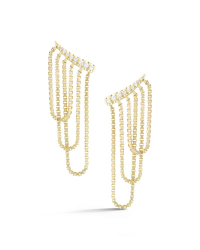 Revival Chain Climber Earrings with Diamonds