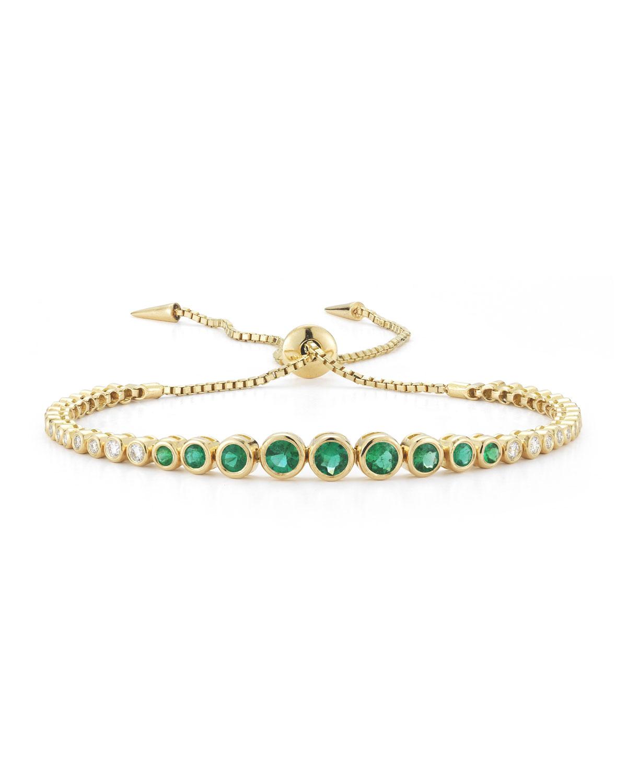 Prive Luxe Emerald & Diamond Slider Bracelet in 18K Gold