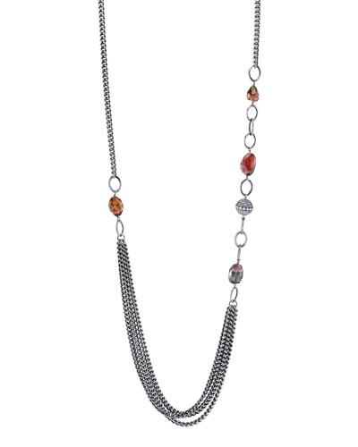 Tourmaline Curb-Chain Draped Necklace, 40