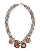 Tourmaline & Diamond Drape Curb Necklace