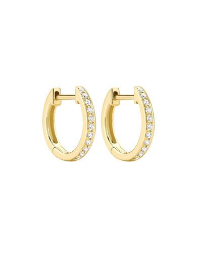 Channel-Set Diamond Mini Hoop Earrings in 18K Yellow Gold
