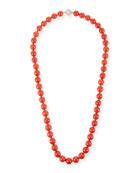 18k Sardinian Coral Bead Necklace w/ Diamond Clasp, 8.2mm