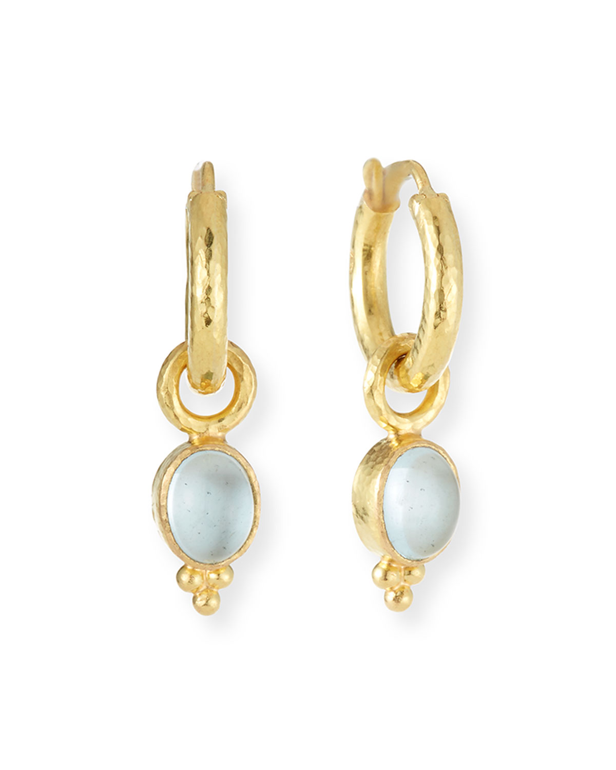 ELIZABETH LOCKE 19K GOLD AQUAMARINE EARRING PENDANTS