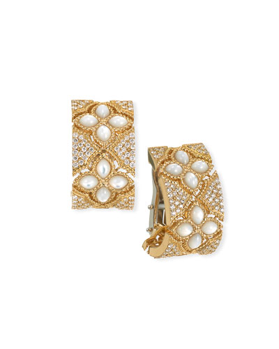 Venetian Princess 18k Mother-of-Pearl Diamond Huggie Earrings