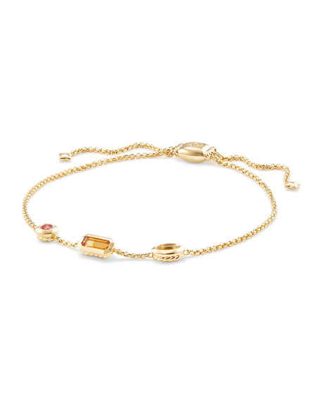 David Yurman Novella Chain Bracelet in Citrine, Yellow Beryl, and Pink Tourmaline
