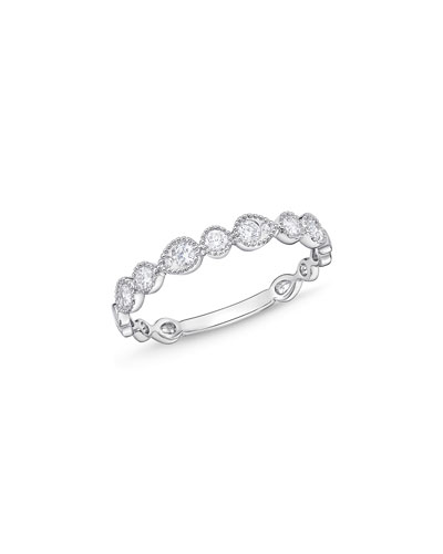 MEMOIRE STACK 'EM UP BEVELED TEARDROP BAND RING WITH DIAMONDS