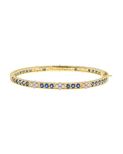 Modern Etruscan Bangle with Blue & White Diamonds