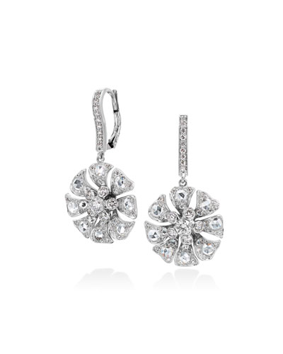Aster Flower Drop Earrings with Diamonds
