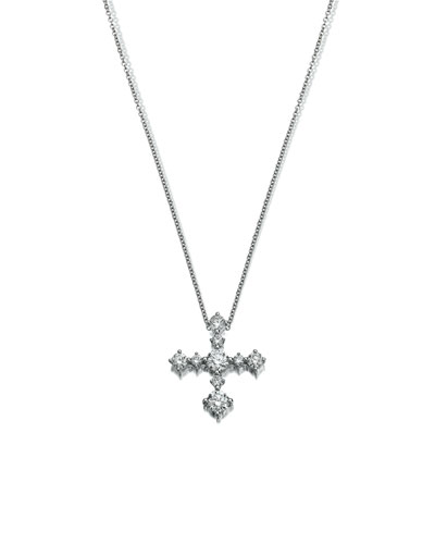MARIA CANALE DIAMOND CROSS PENDANT NECKLACE IN 18K WHITE GOLD