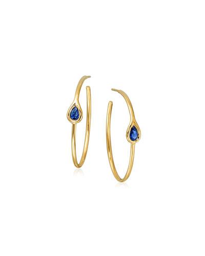 MARIA CANALE BLUE SAPPHIRE TEARDROP HOOP EARRINGS