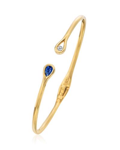 MARIA CANALE HINGED DIAMOND & BLUE SAPPHIRE CUFF BRACELET