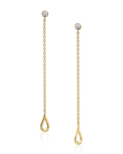 Diamond & Open Teardrop Chain Earrings