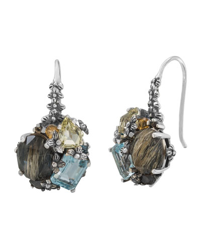 Mixed Cluster Silver Drop Earrings