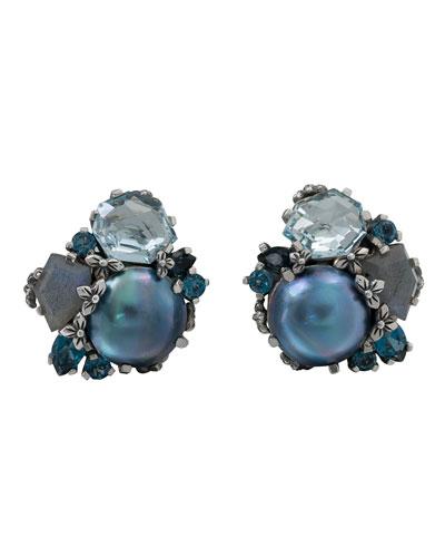 Cluster Pearl & Stone Silver Earrings, Blue