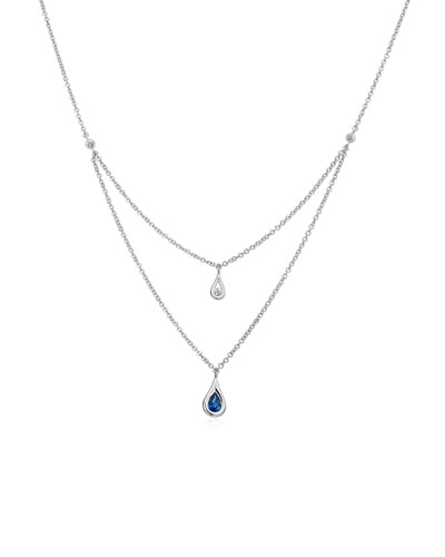 Layered Diamond & Sapphire Teardrop Necklace