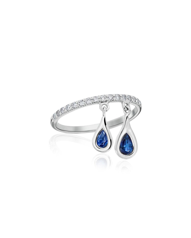 Dangling Sapphire Teardrop Ring with Diamonds