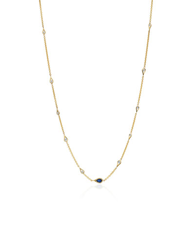 Diamond & Blue Sapphire Teardrop Station Necklace
