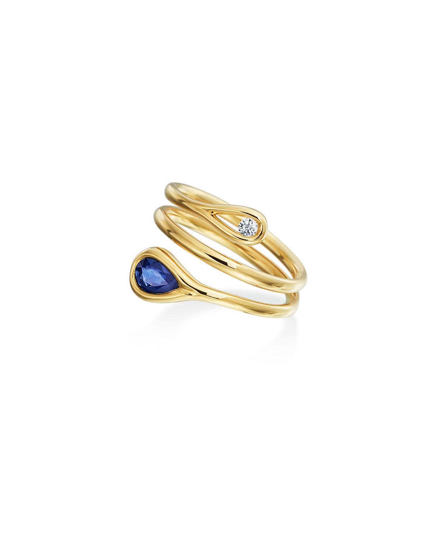 Sapphire & Diamond Wrap Ring in 18K Gold