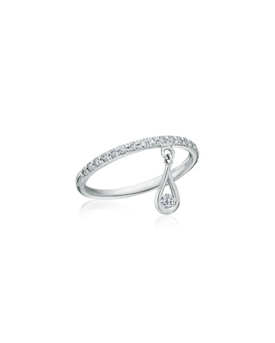 MARIA CANALE DIAMOND BAND RING WITH DIAMOND TEARDROP CHARM, SIZE 5.75