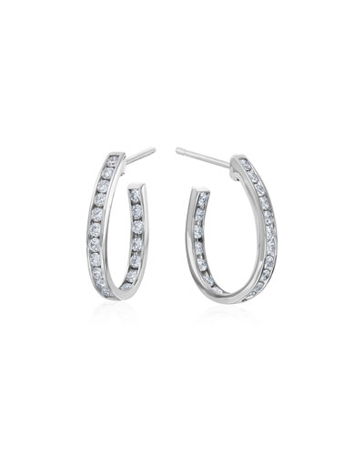 Small Channel-Set Diamond Hoop Earrings
