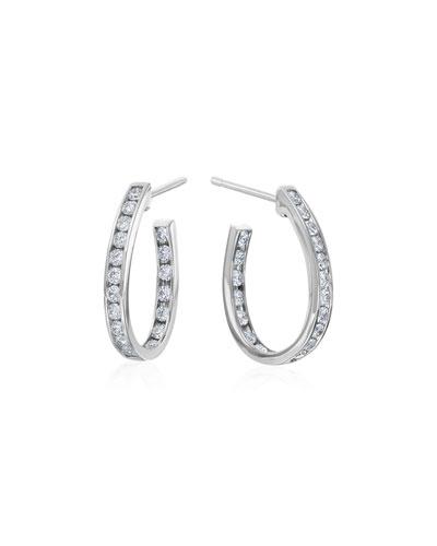 MARIA CANALE SMALL CHANNEL-SET DIAMOND HOOP EARRINGS