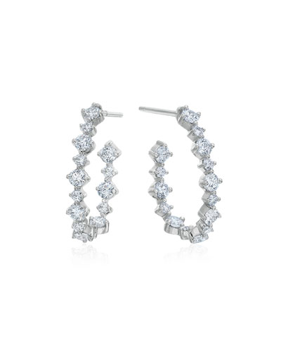 MARIA CANALE PEAR-SHAPED HOOP EARRINGS WITH DIAMONDS