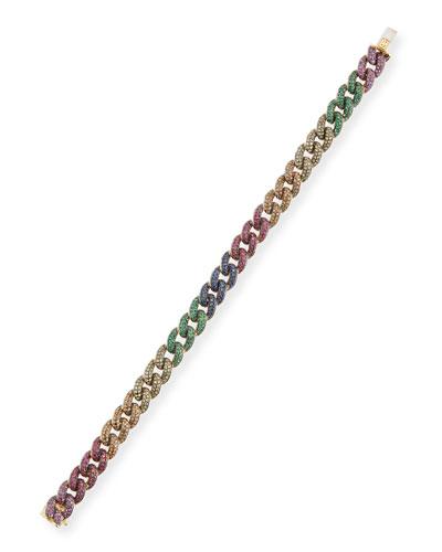 Small Rainbow Pavé Link Bracelet