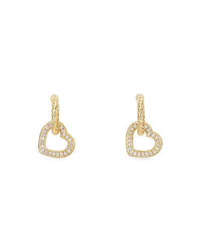 18k Diamond Heart-Link Drop Earrings